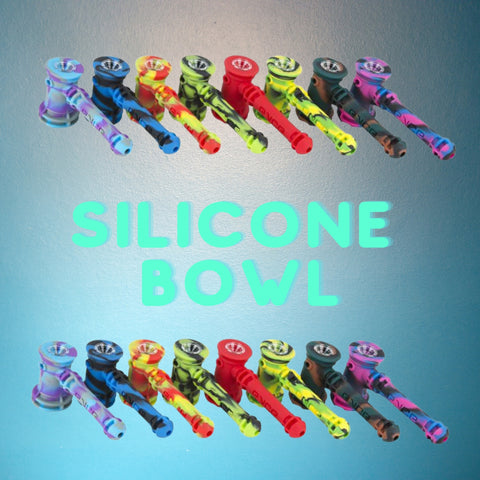 a bunch of silicone bowls lined up in a row. Blue background