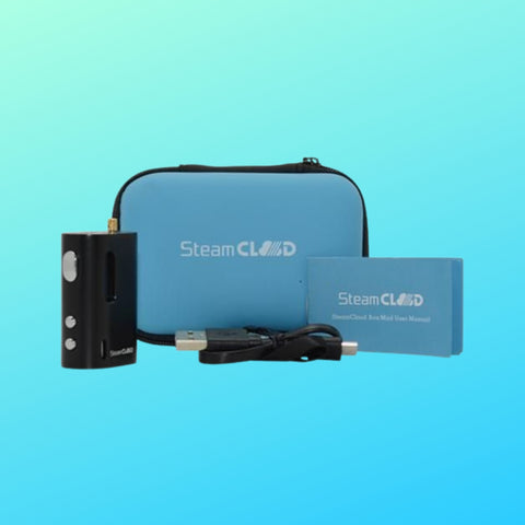SteamCloud Box Mod battery with blue background