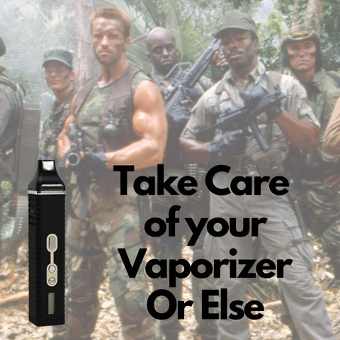 Titan 2 main focus with army guys in background with text saying take care of your vaporizer