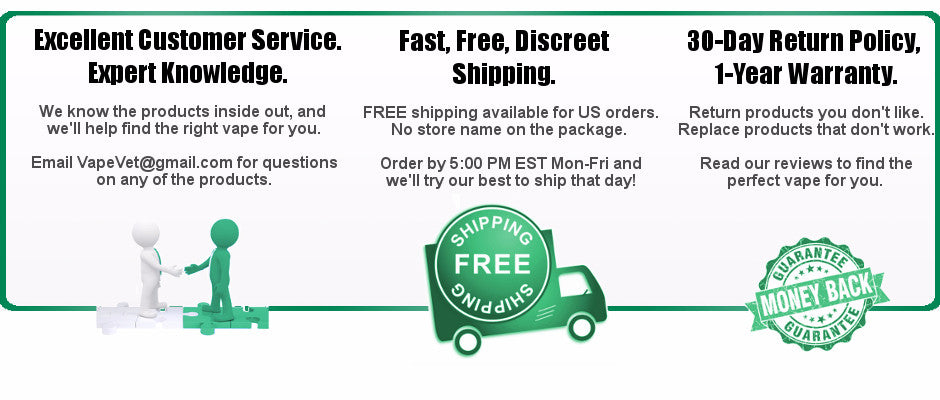 Excellent service. Expert knowledge. Free, fast, discreet delivery. 30-day return policy, 1-year warantee.