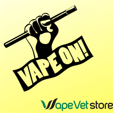 Yellow background with text saying vape on!