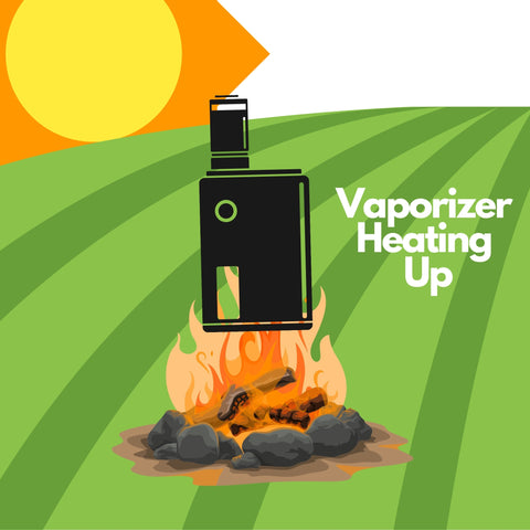 """vaporizer heating up in campfire on a hot summer day with text """" Vaporizer Heating Up"""""""