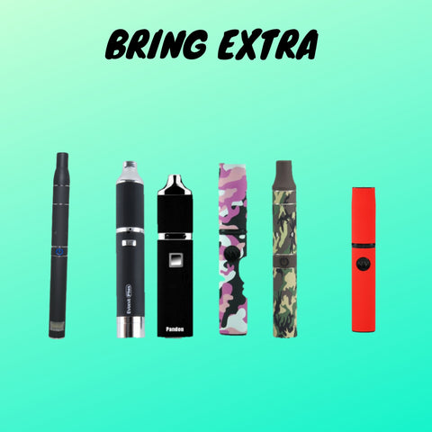 multiple vaporizers with text saying bring extra teal background