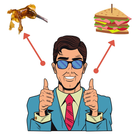 Man giving two thumbs up about dabbing and sandwiches