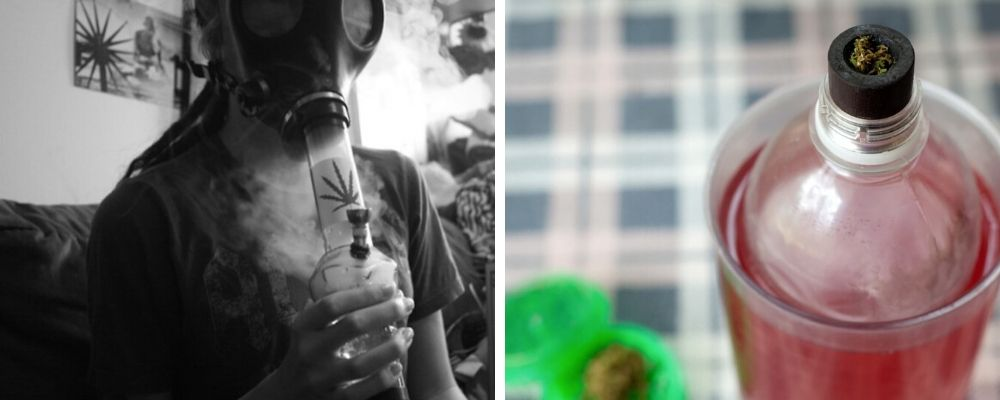 Gravity Bong vs Gas Mask Bong