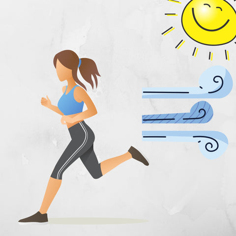 woman going for a run in the sun