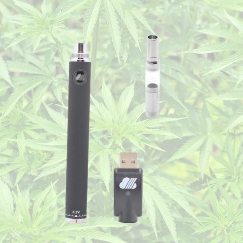 portable vaporizer with a oil cartridge and thc plant in the background