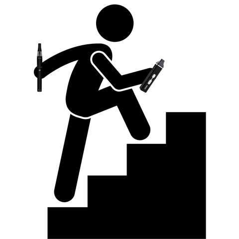 stick figure carrying two vaporizers on the move