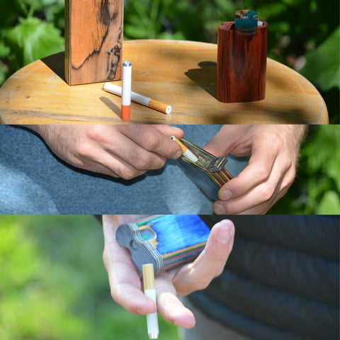 Three pictures of hands holding one hitter pipe horizontal