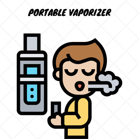 animation of male smoking a portable vaporizer