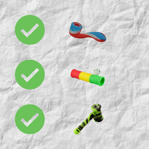 three checkmarks in green. three silicone pipes white background
