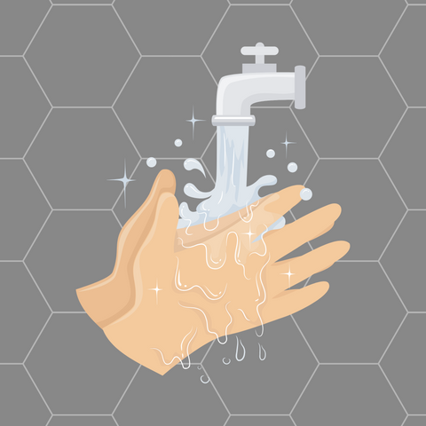 Washing hands to keep clean