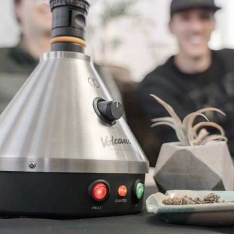 smoking at the house with your friends on a desktop vaporizer