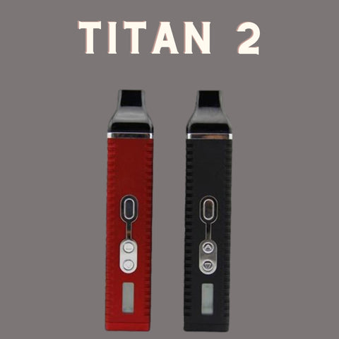 Red and black titan 2 vaporizer next to each other with a grey background