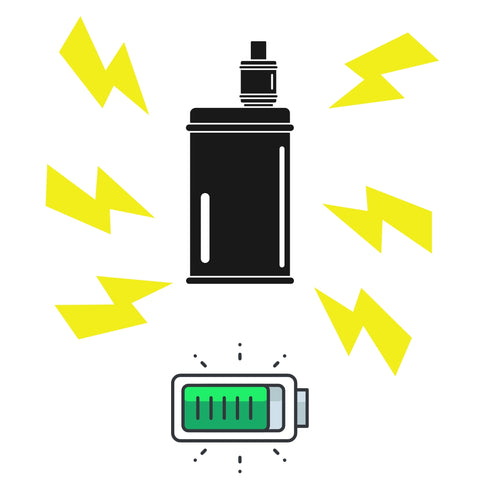 vape battery with lighting bolts showing vape is fully charged