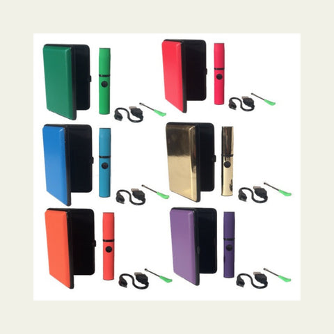 six vape cases in all colors with a tan background
