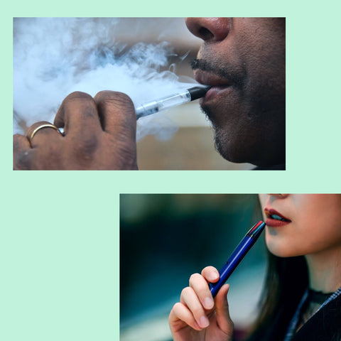 two people Vaping salts in your vape pen with green background