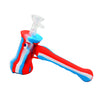 Hammer Bubbler Silicone Pipe Red White Blue