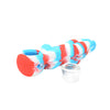 Red White and Blue Silicone Naked Lady Pipe with Glass Screen Bowl Removed