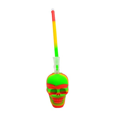 Skull Bubbler Pipe Rasta Color Made Of Silicone