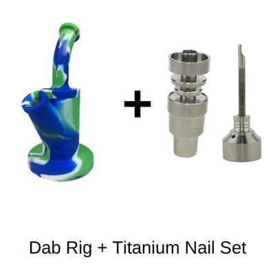 Strong Silicone Dab Rig with Titanium Nail Set