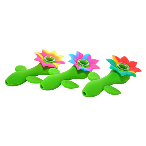 Three Different Color SunFlower Silicone Pipes