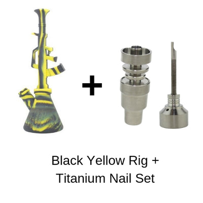 black yellow ak 47 dab rig with titanium nail and carb cap