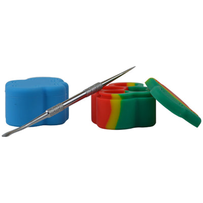 Blue and Rasta Cloud Shape Dab Containers with Dab Tool - Vape Vet Store
