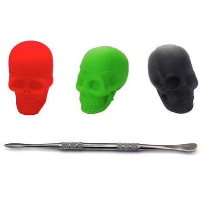 Skull Design Dab Containers with Stainless Steel Dabber