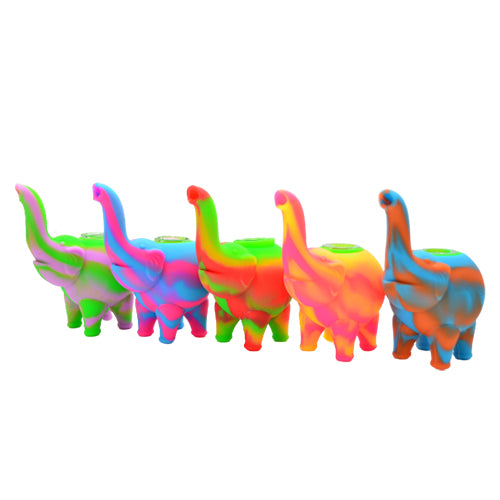 Five Different Color Silicone Elephant Bubblers with Glass Bowls