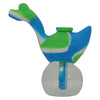 Green Blue and White Swan Silicone Bubbler Pipe for Sale