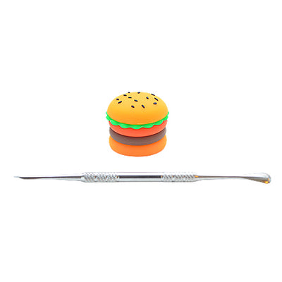 Silicone Hamburger Dab Container with Dab Tool