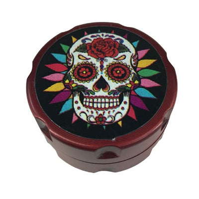 Skull Design Red Mini Herb Grinder - Vape Vet Store