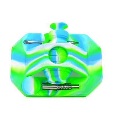 Silicone Hand Grenade Nectar Collecter Green White Blue