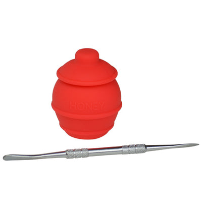 Red Honey Jar Dab Container with Dab Tool