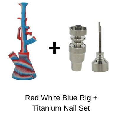 Red White Blue AK 47 Dab Rig with Titanium Nail and Carb Cap