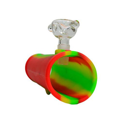 Rasta Silicone Steamroller Pipe with Glass Bong Bowl