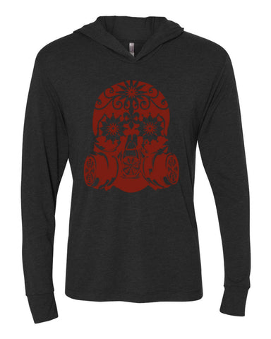 FreedomEffect Unisex Vintage Black and Red-Hooded Long Sleeve Pullover