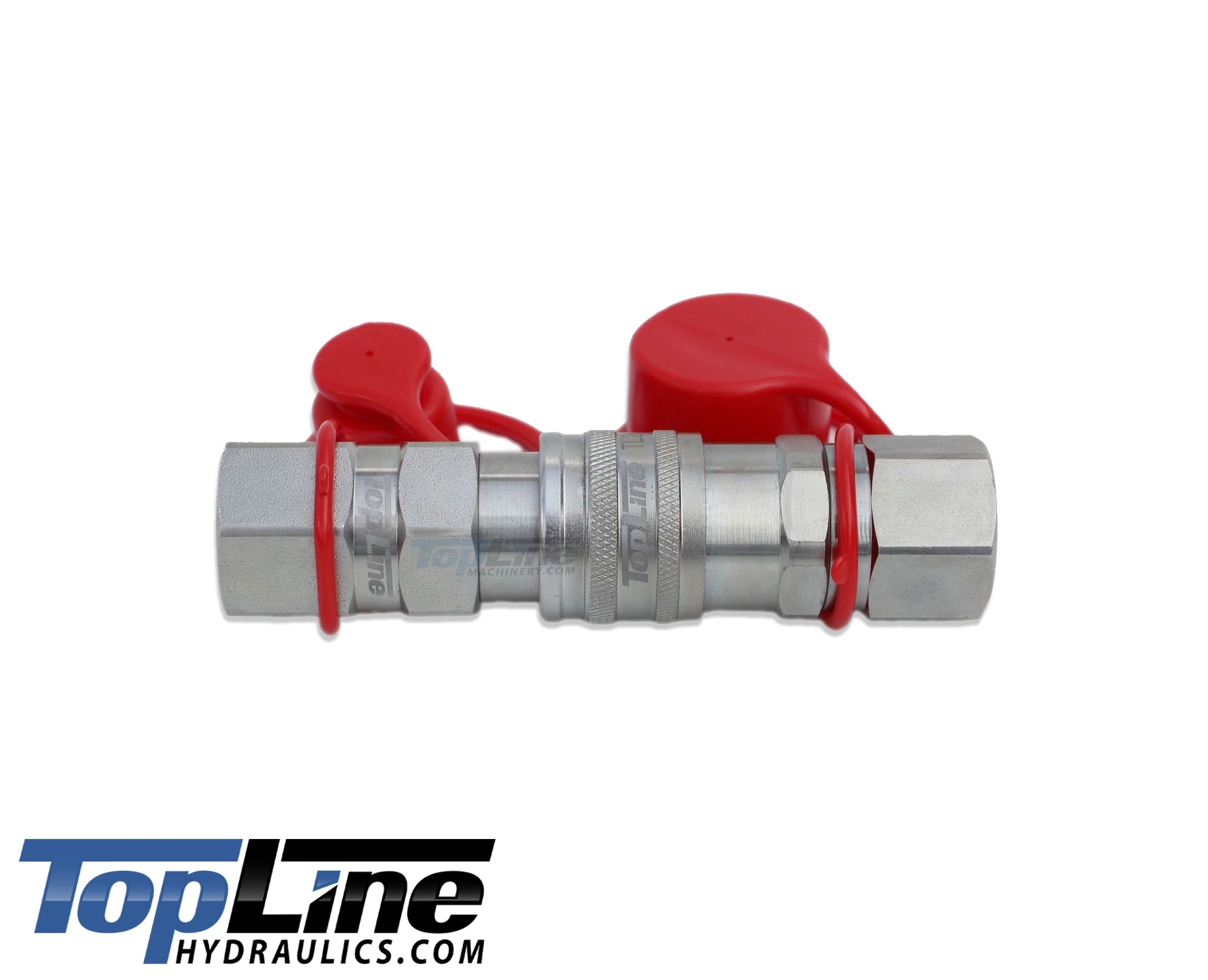 3//8 Flat Face Hydraulic Quick Connect Coupler Set w//Dust Caps 1//2 SAE Thread