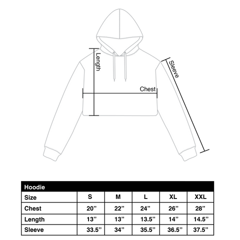 Crop hoodie size chart