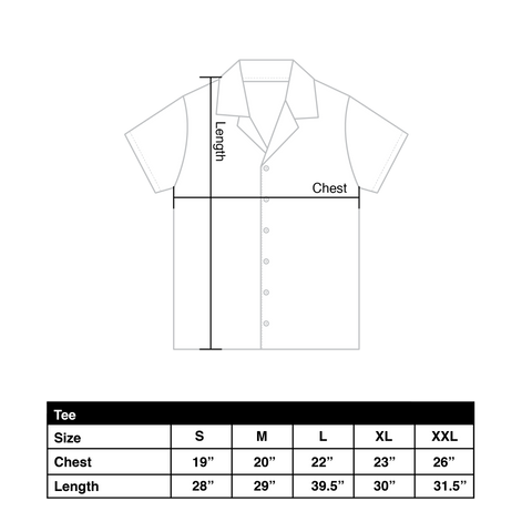 Vacation shirt size chart