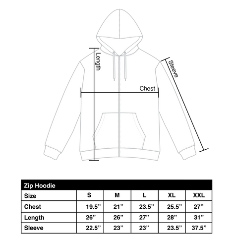 Zip up size chart