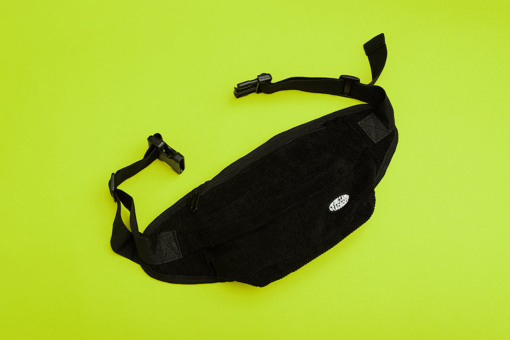 Black Corduroy Waist Bag