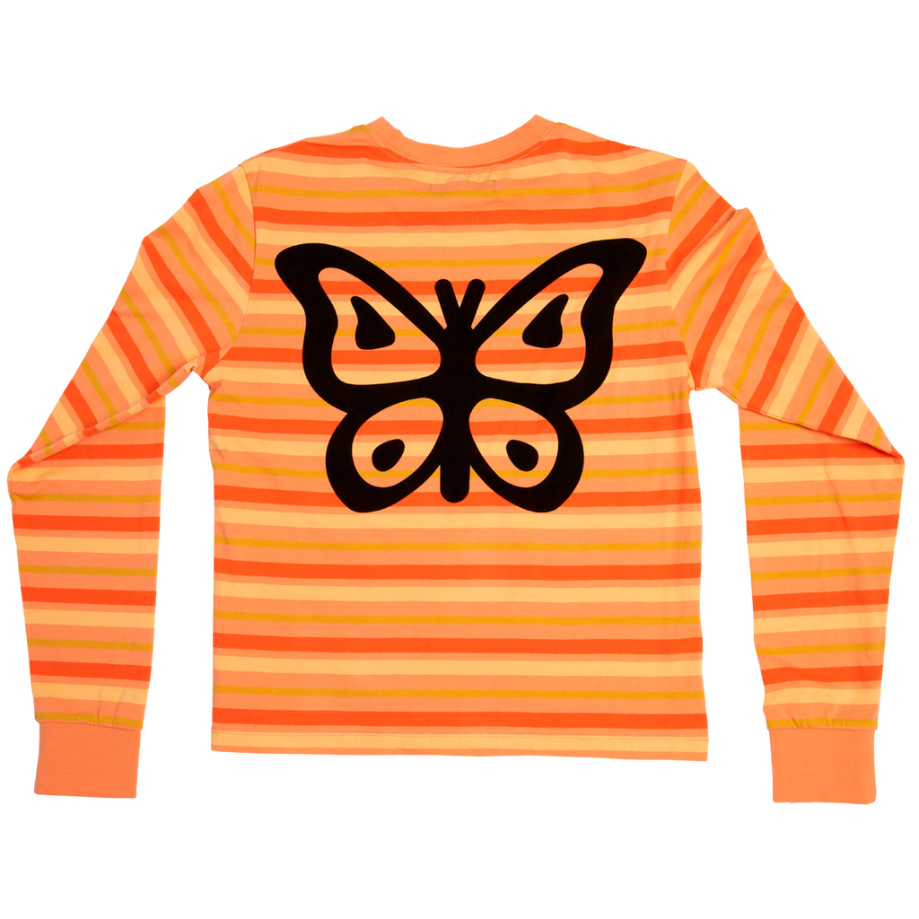 Petals Orange Striped Butterfly Longsleeve