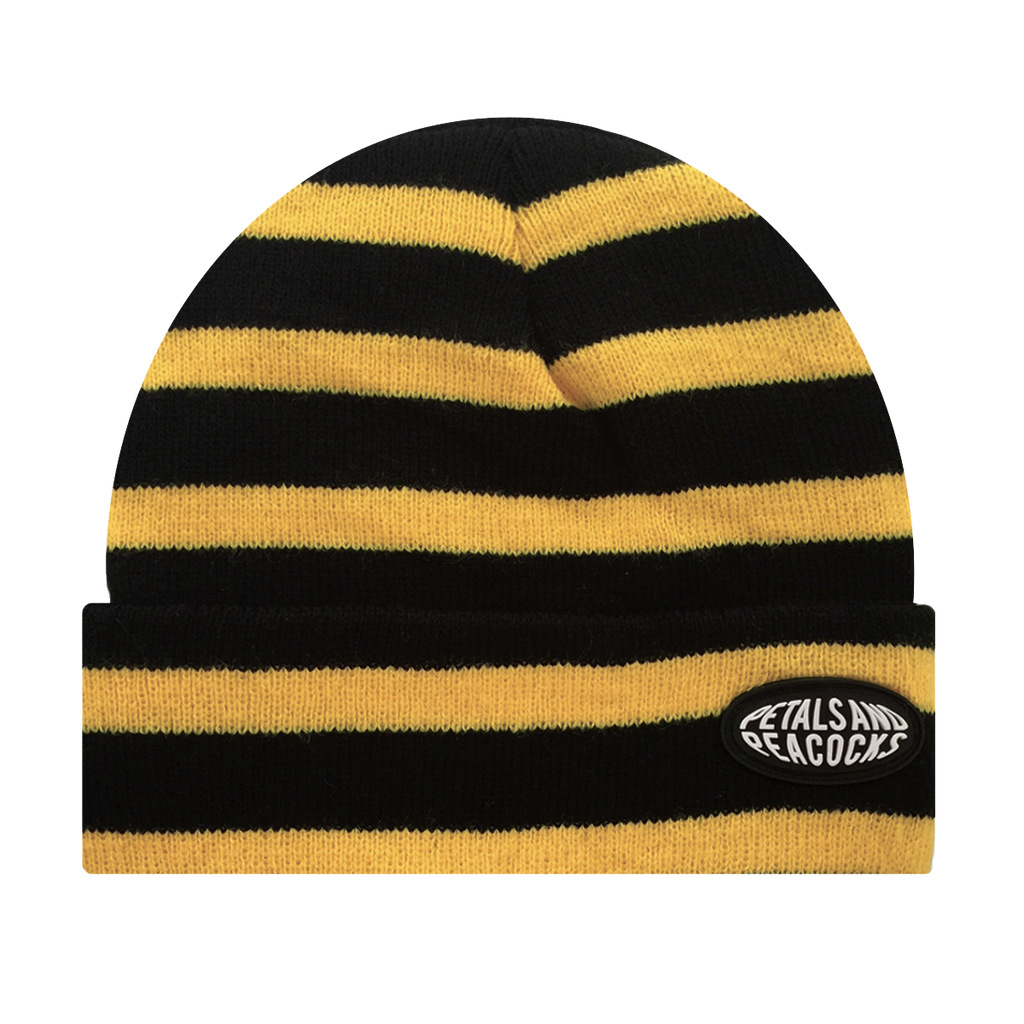 Striped Beanie in Yellow