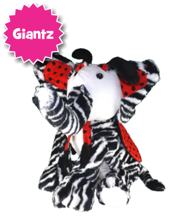 Zebugraphant = zebra + lady bug + elephant large plush stuffed animal [front view]