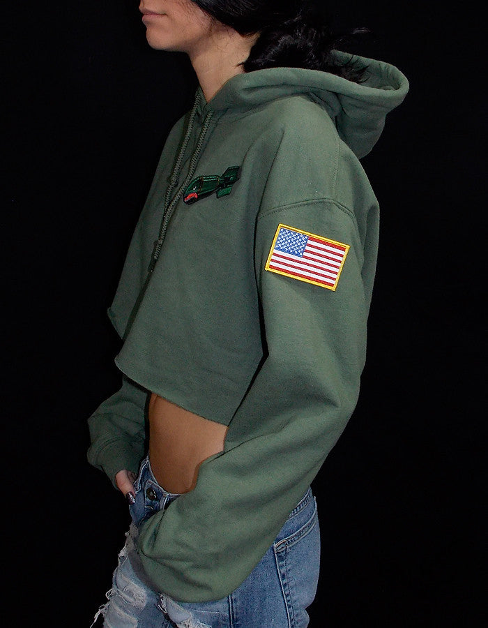 Bombs Away Crop Hoodie with Camo SnapBack