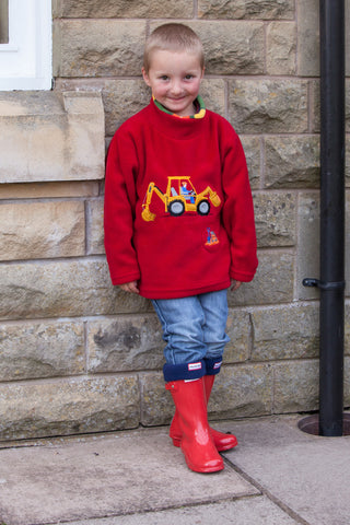 Children's Red Fleece Pull on Tunic with Embroidered Digger design and Engine Sound effects