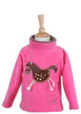 Children's Embroidered Crazy Horse Pink Fleece Tunic with Sound Effects