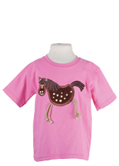 Crazy Horse Children's Pink Embroidered T-Shirt with Dangly Legs